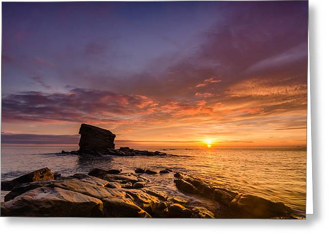 Water Worn Sandstone Greeting Cards - Sunrise at Collywell Bay Greeting Card by David Head