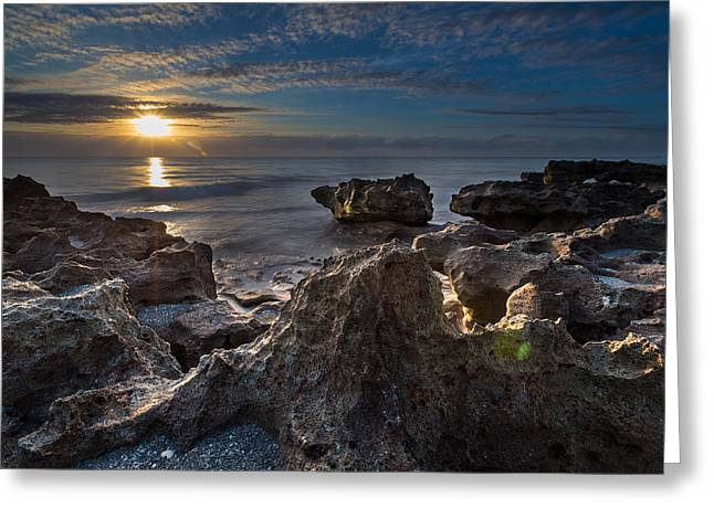 Pensive Greeting Cards - Sunrise at Coral Cove Park in Jupiter Greeting Card by Andres Leon