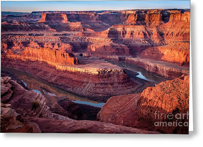 Goosenecks State Park Greeting Cards - Sunrise at Dead Horse Point Greeting Card by Bob and Nancy Kendrick