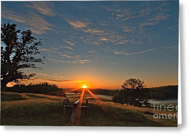 Confederate Monument Greeting Cards - Sunrise at Gettysburg Greeting Card by Mike Griffiths