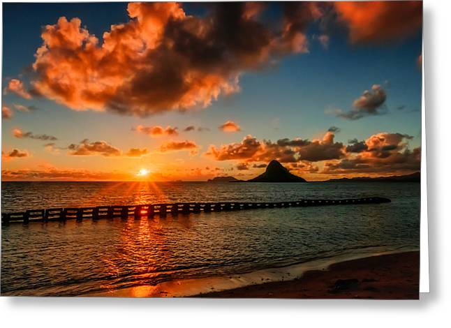 I Pyrography Greeting Cards - Sunrise at Hawaii Chainamans Hat Greeting Card by RB Art