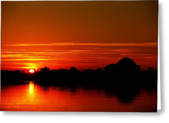 Mirror Greeting Cards - Sunrise At Jefferson Memorial Greeting Card by Metro DC Photography