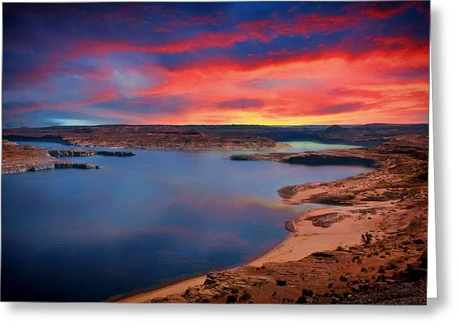 Desert Lake Greeting Cards - Sunrise at Lake Powell Greeting Card by Mountain Dreams