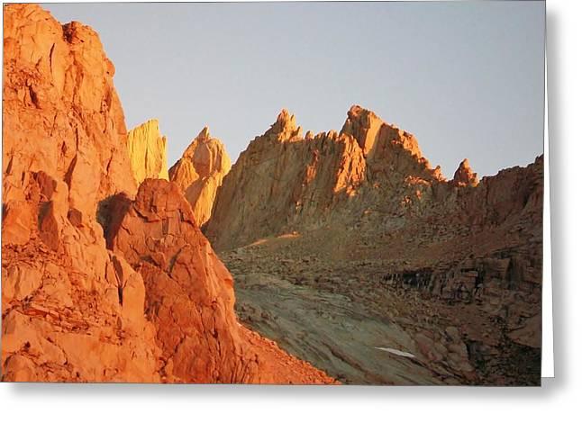 Rag Rug Greeting Cards - Sunrise at Mount Whitney Greeting Card by David Lobos