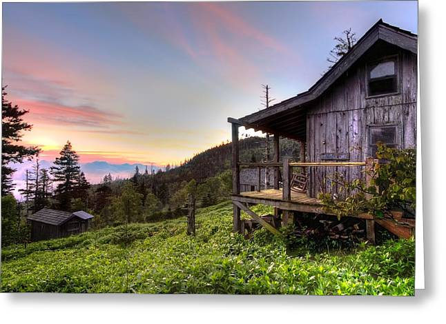 Mountain Cabin Greeting Cards - Sunrise at Mt LeConte Greeting Card by Debra and Dave Vanderlaan