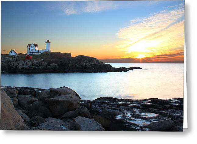 Sunrise At Nubble Greeting Card by Andrea Galiffi