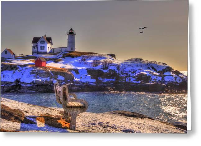 New England Snow Scene Greeting Cards - Sunrise at Nubble Lighthouse - Cape Neddick - York Maine Greeting Card by Joann Vitali