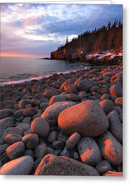 Maine Beach Greeting Cards - Sunrise at Otter Cliffs Greeting Card by Patrick Downey