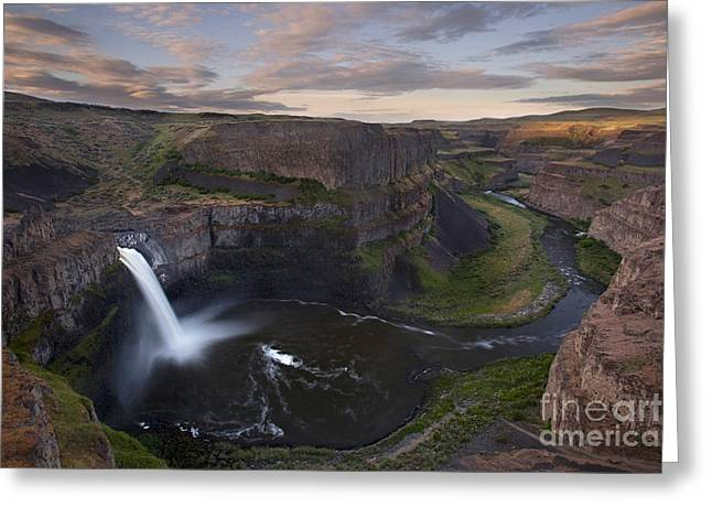 Tranquil Scene Greeting Cards - Sunrise at Palouse falls in Washington state Greeting Card by Keith Kapple