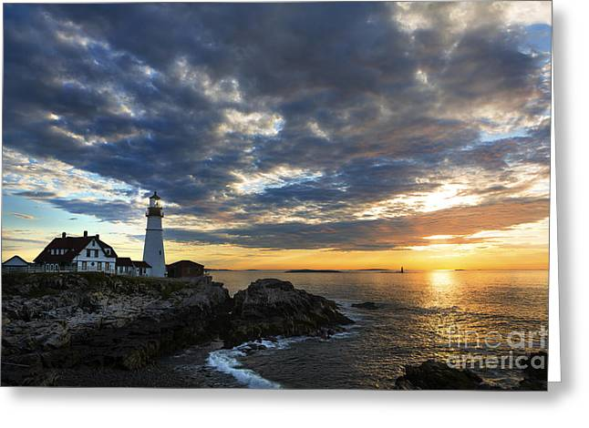 Maine Beach Greeting Cards - Sunrise at Portland Head Light Greeting Card by Diane Diederich