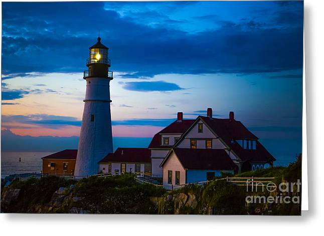 Maine Beach Greeting Cards - Sunrise at Portland Head Lighthouse Greeting Card by Diane Diederich