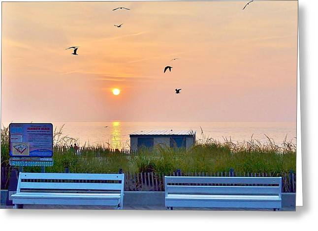 Peaceful Scene Greeting Cards - Sunrise at Rehoboth Beach Boardwalk Greeting Card by Kim Bemis