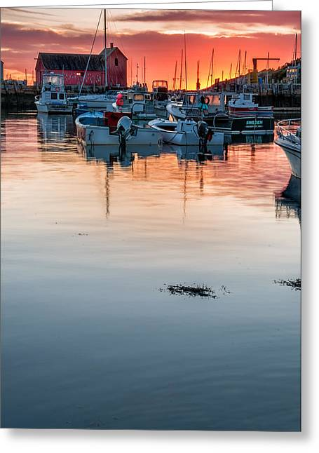 New England Village Greeting Cards - Sunrise at Rockport Harbor - Cape Ann Greeting Card by Thomas Schoeller