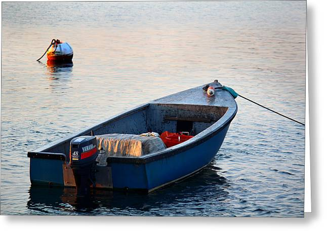 Boats On Water Greeting Cards - Sunrise at Sakonnet Point Greeting Card by Andrew Pacheco