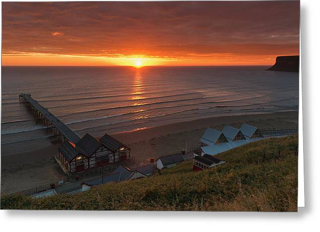 North Sea Greeting Cards - Sunrise at Saltburn Greeting Card by Gary Eason