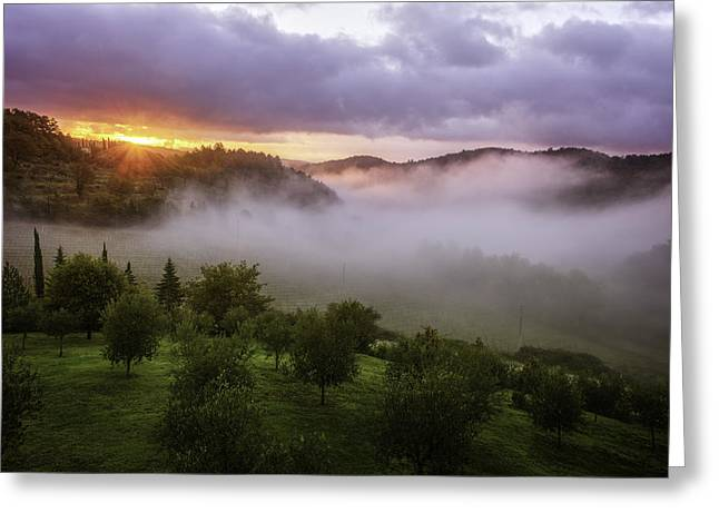 Radda In Chianti Greeting Cards - Sunrise at San Fedele Greeting Card by Steven Greenbaum