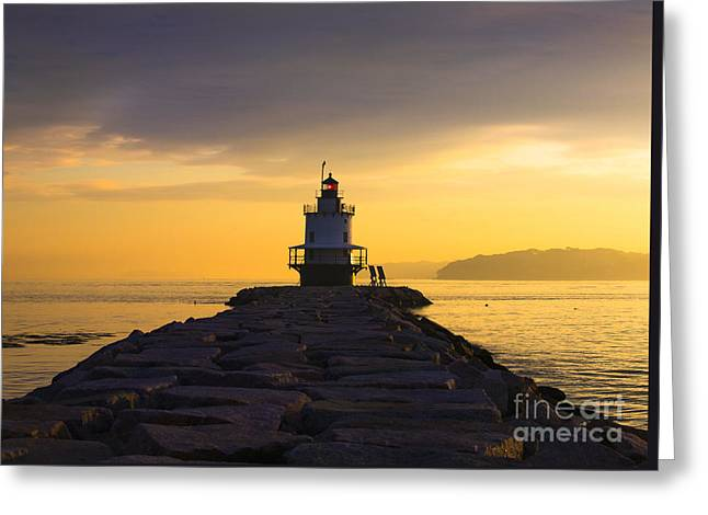 Maine Lighthouses Photographs Greeting Cards - Sunrise at Spring Point Lighthouse Greeting Card by Diane Diederich