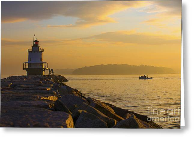 Lobster Boat Greeting Cards - Sunrise at Spring Point Portland Maine Greeting Card by Diane Diederich