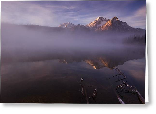 Snow Capped Greeting Cards - Sunrise at Stanley Lake Idaho Greeting Card by Vishwanath Bhat