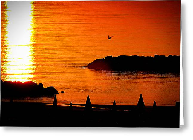 Autographed Photographs Greeting Cards - Sunrise at the Adriatic Sea Greeting Card by Matteo Moncalvo