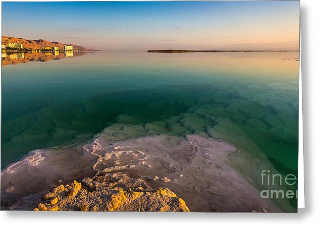 Outlook Greeting Cards - Sunrise at the Dead Sea Greeting Card by Jacki Soikis