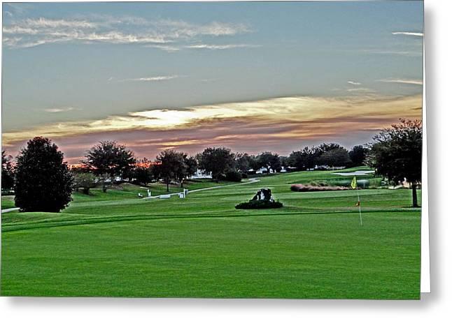 Willow Lake Mixed Media Greeting Cards - Sunrise at the golf course Greeting Card by Dennis Dugan