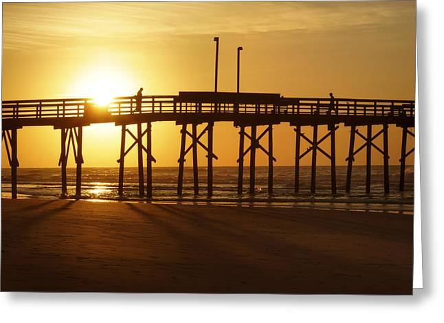 Beach Photos Digital Greeting Cards - Sunrise at the Jolly Roger Pier 2 Greeting Card by Mike McGlothlen