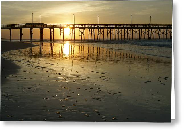 Beach Photos Digital Greeting Cards - Sunrise at the Jolly Roger Pier Greeting Card by Mike McGlothlen