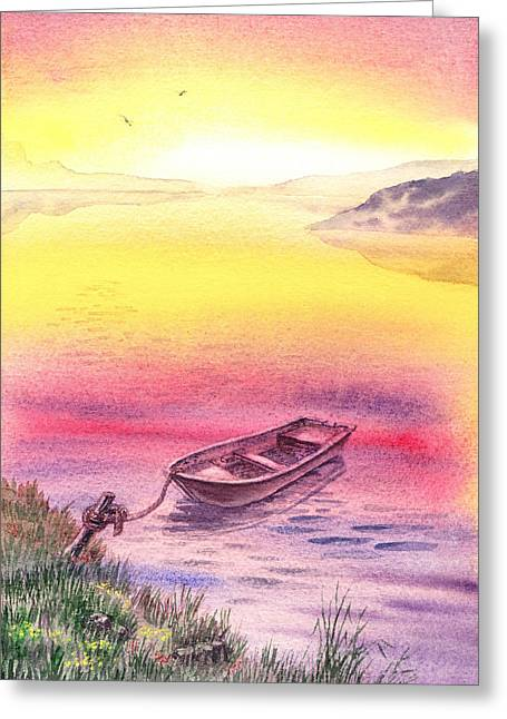 Purple Robe Greeting Cards - Sunrise At The Lake Greeting Card by Irina Sztukowski