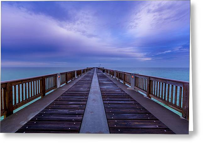 Panama City Greeting Cards - Sunrise at the Panama City Beach Pier Greeting Card by David Morefield