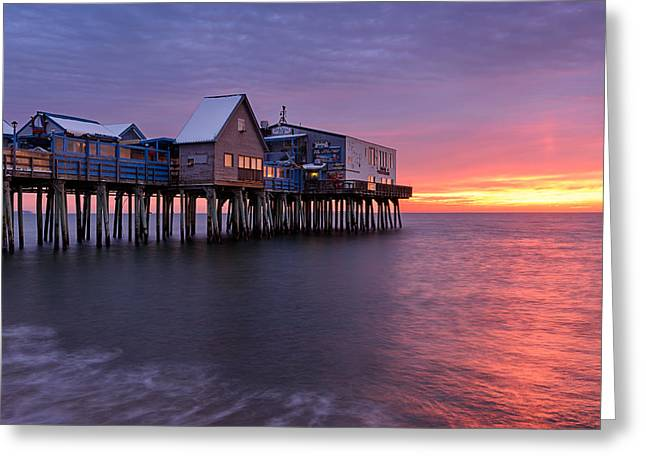 Maine Beach Greeting Cards - Sunrise at the Pier Greeting Card by Michael Blanchette