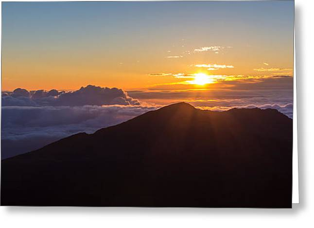 Above The Clouds Greeting Cards - Sunrise at the summit of Haleakala Greeting Card by Pierre Leclerc Photography