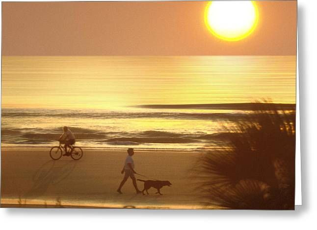 Dog Walking Digital Art Greeting Cards - Sunrise at Topsail Island 2 Greeting Card by Mike McGlothlen