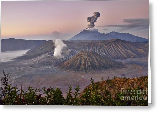 Asien Greeting Cards - sunrise at vulcano Bromo with sea of sand vulcano Semeru with eruption Java Indonesia Greeting Card by Juergen Ritterbach
