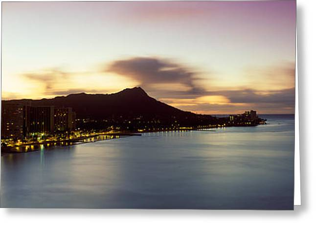 His Light Greeting Cards - Sunrise At Waikiki Beach Honolulu Hi Usa Greeting Card by Panoramic Images