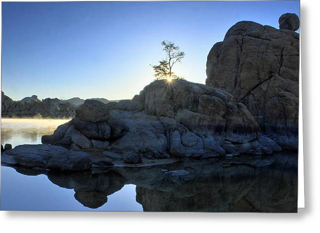 Prescott Greeting Cards - Sunrise At Watson Lake Greeting Card by Dan Myers
