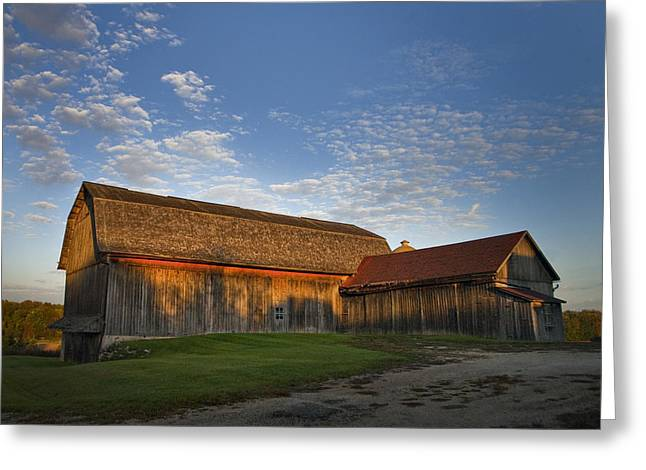 Wisconsin Barn Greeting Cards - Sunrise Barn Greeting Card by Jeff Klingler
