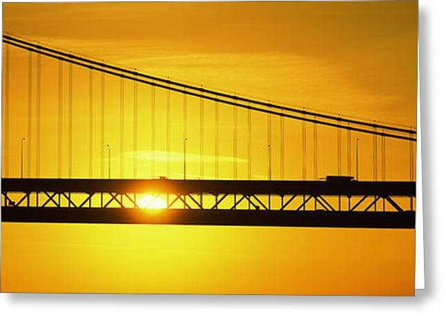 Geometric Image Greeting Cards - Sunrise Bay Bridge San Francisco Ca Usa Greeting Card by Panoramic Images