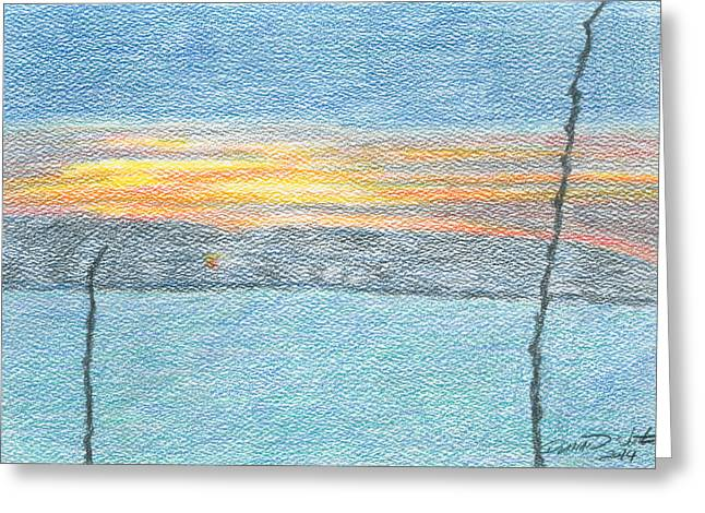 Sunrise Drawings Greeting Cards - Sunrise Behind Branches Greeting Card by Dominic White