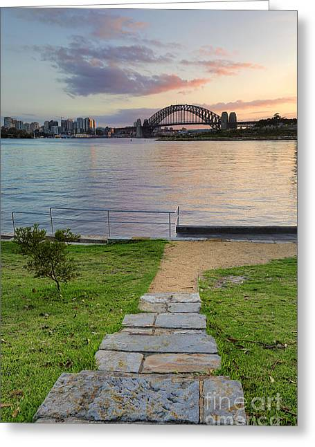 Balmain Greeting Cards - Sunrise behind Sydney Harbour Bridge from Balmain Greeting Card by Leah-Anne Thompson