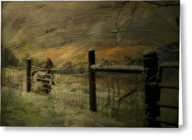 Kathy Jennings Photographs Greeting Cards - Sunrise Behind The Fence Greeting Card by Kathy Jennings