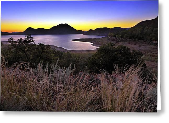 Jmpolitte Greeting Cards - Sunrise behind the Quartz Mountains - Oklahoma - Lake Altus Greeting Card by Jason Politte