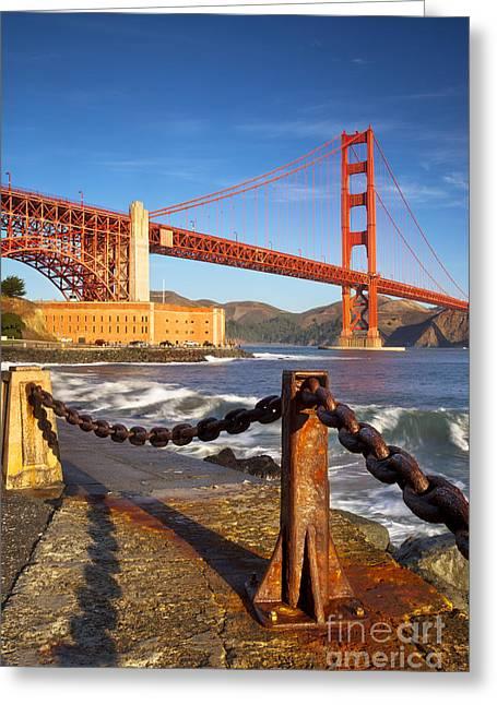 Golden Chain Greeting Cards - Sunrise below Golden Gate Greeting Card by Brian Jannsen