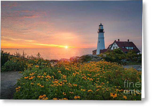 Ver Sprill Photographs Greeting Cards - Sunrise Bliss at Portland Lighthouse Greeting Card by Michael Ver Sprill