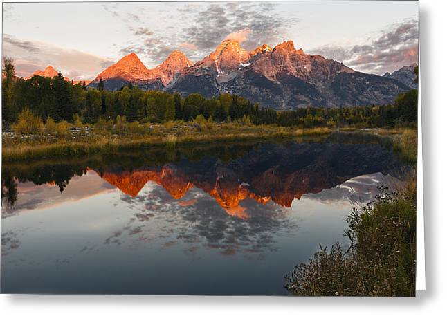 Wyoming Greeting Cards - Sunrise Burning Greeting Card by Mike Lang
