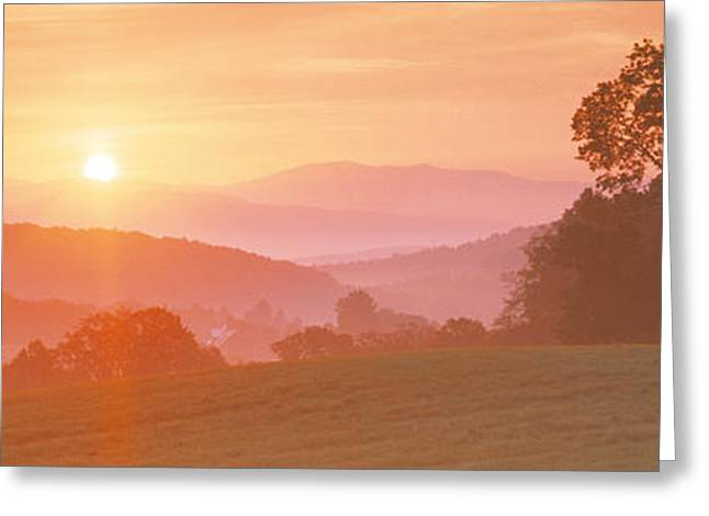 Early Morning Sun Greeting Cards - Sunrise Caledonia Vt Usa Greeting Card by Panoramic Images