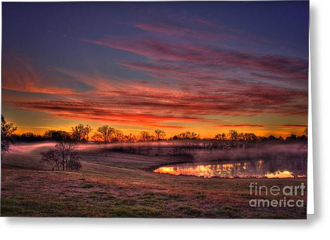 Pastureland Greeting Cards - Other Worldly Sunrise Greeting Card by Reid Callaway