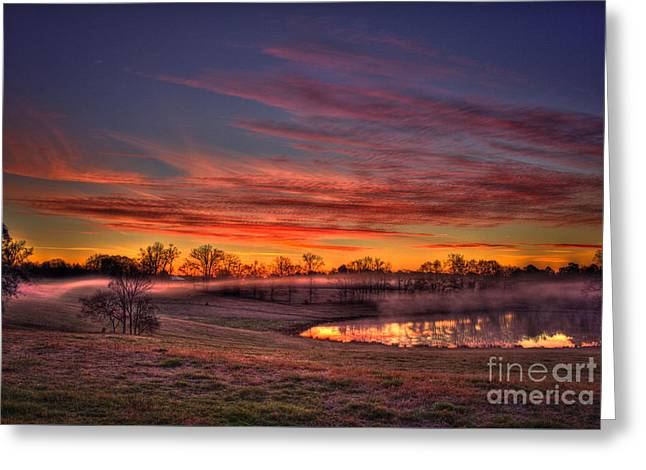 Misty Morning Other Worldly Sunrise Greeting Card by Reid Callaway