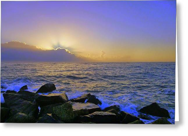 Florida Pyrography Greeting Cards - Sunrise City 2 Greeting Card by Robert Francis