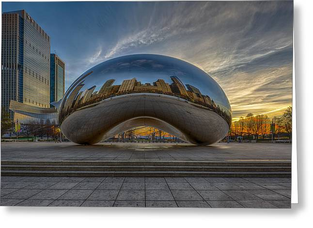 Glass Greeting Cards - Sunrise Cloud Gate Greeting Card by Sebastian Musial